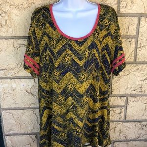 LuLaRoe Tunic Top Yellow Blue & Pink Size 3XL